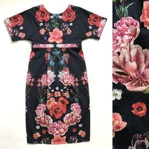ASOS Floral Mini Dress 4 Short Sleeve Blue Pink